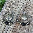 Pyrite & Obsidian Gemstone Hoop Earrings