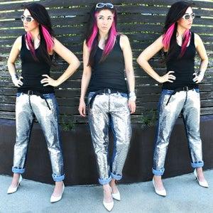No Sew Sequin Boyfriend Jeans