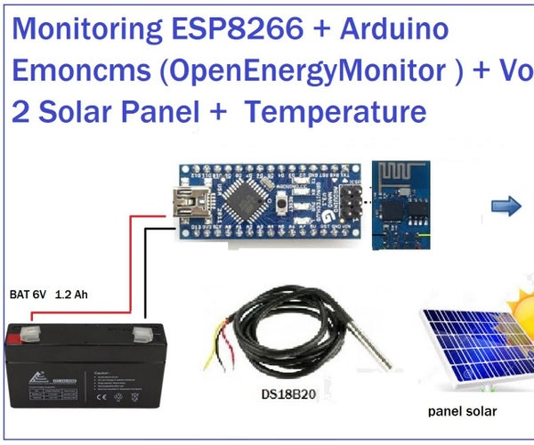 ESP8266 + Arduino Solar Charger  to Emoncms