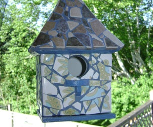 Super Cute Birdhouse From Used or Broken Tile