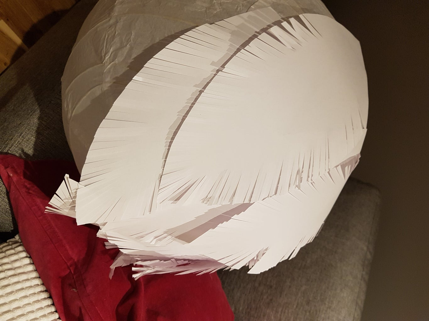 Glue Feathers on to the Lamp