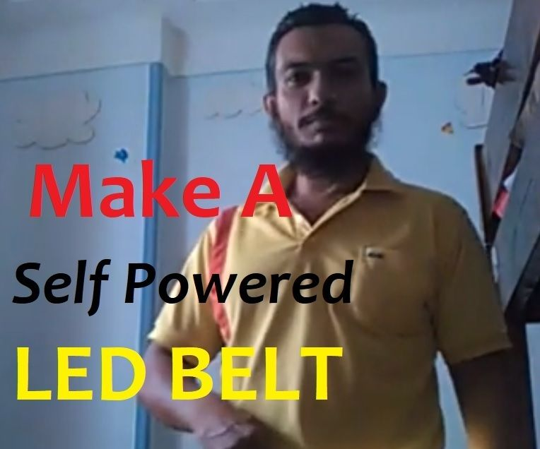 How to Make a Self Powered Hand Crank LED Belt With LED Strip and Microwave Motor