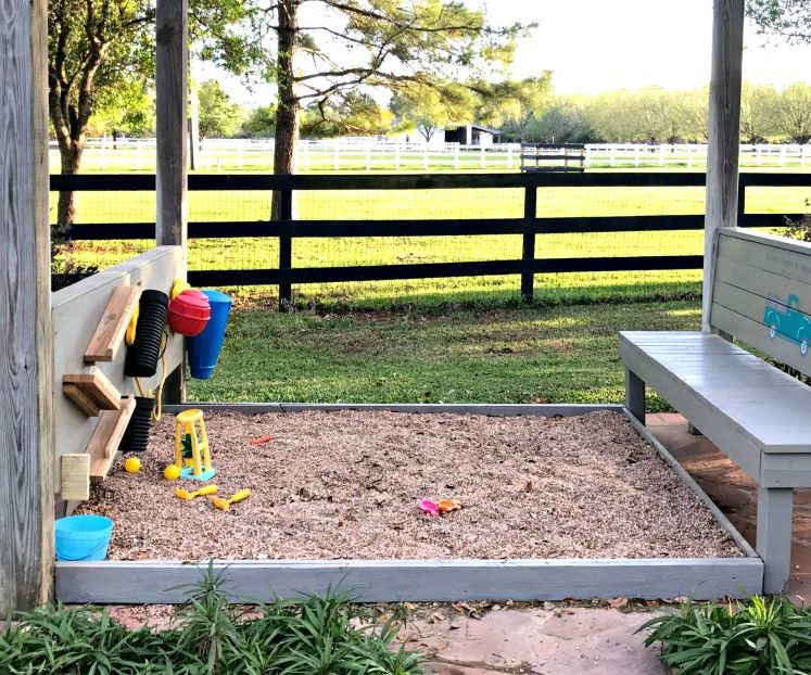 A Fun Pea Gravel Play Area, DIY Rustic Bench & Backyard Activity Wall