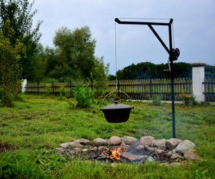 Clever Grill and Iron Kettle Over Fireplace