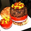 The Molecular Burger w/ Ketchup and Mustard Caviar