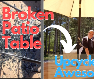 How to Up-cycle a Broken Patio Table Into an Awesome Farm Style Wood Table