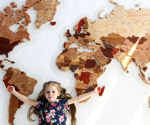 Wooden World Map.