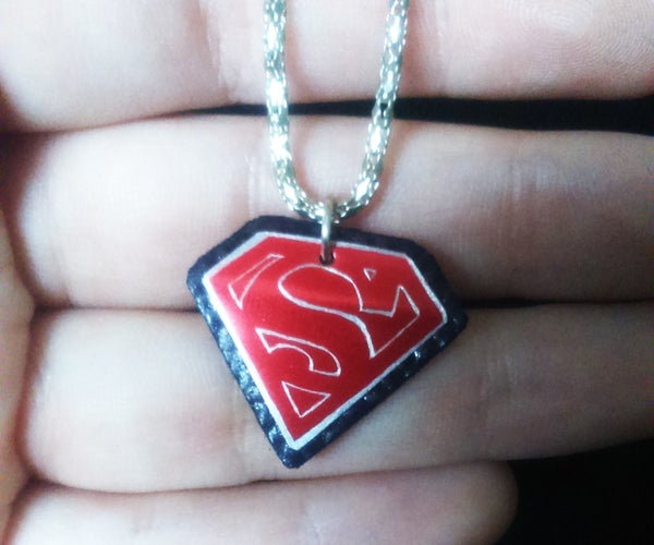 DIY Upcycled Superman Necklace Using a Soda Can