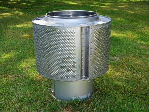 Garden Bonfire Reusing a Washing Machine's Drum