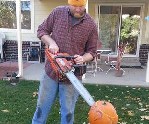 Chainsaw Carved Pumpkin!
