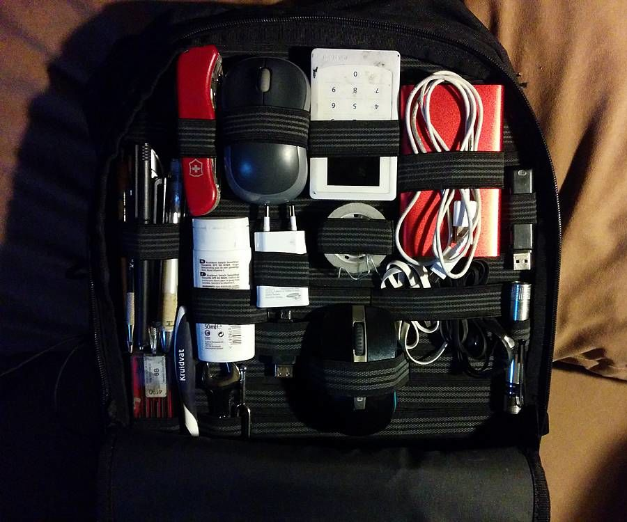 Customizable elastic band backpack organizer