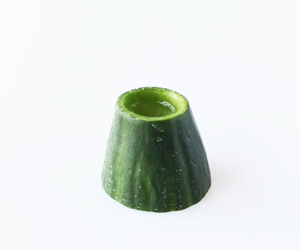 Sake in Edible Mount Fuji Cucumber Cups