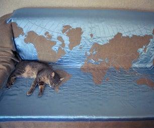 Burlap & Satin World Map Blanket