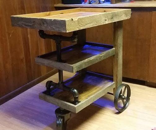 Bar Cart From Reclaimed Barn Wood