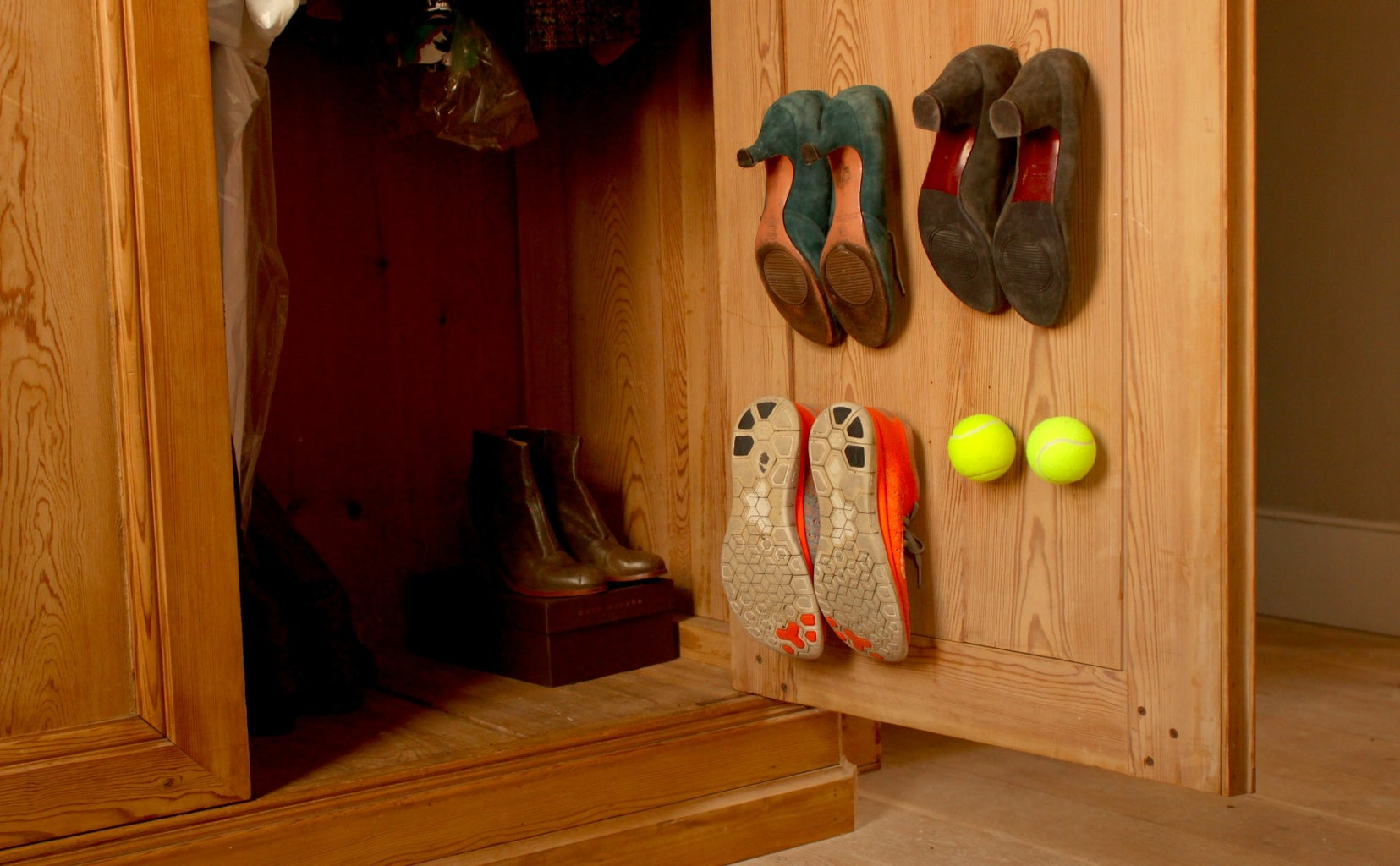Store Your Shoes Using Tennis Balls!