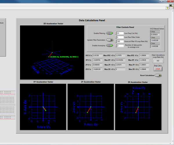 Plotting 2d and 3d G-force Vectors in LabVIEW