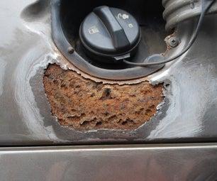 Repairing a Rust Hole in a Car