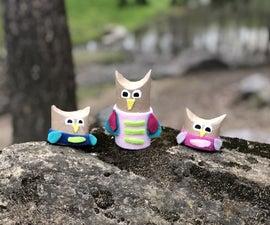 Recycled Cardboard Tube Owls