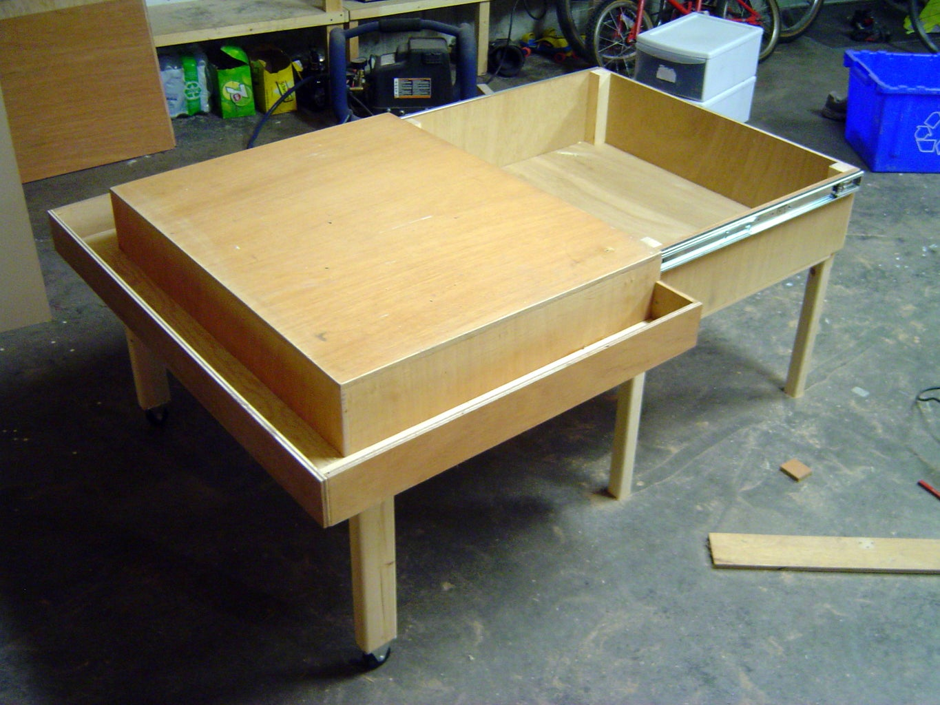 Join Tabletop and Storage Box, and Add Wheeled Legs
