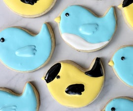 Decorated Bluebird and Goldfinch Sugar Cookies