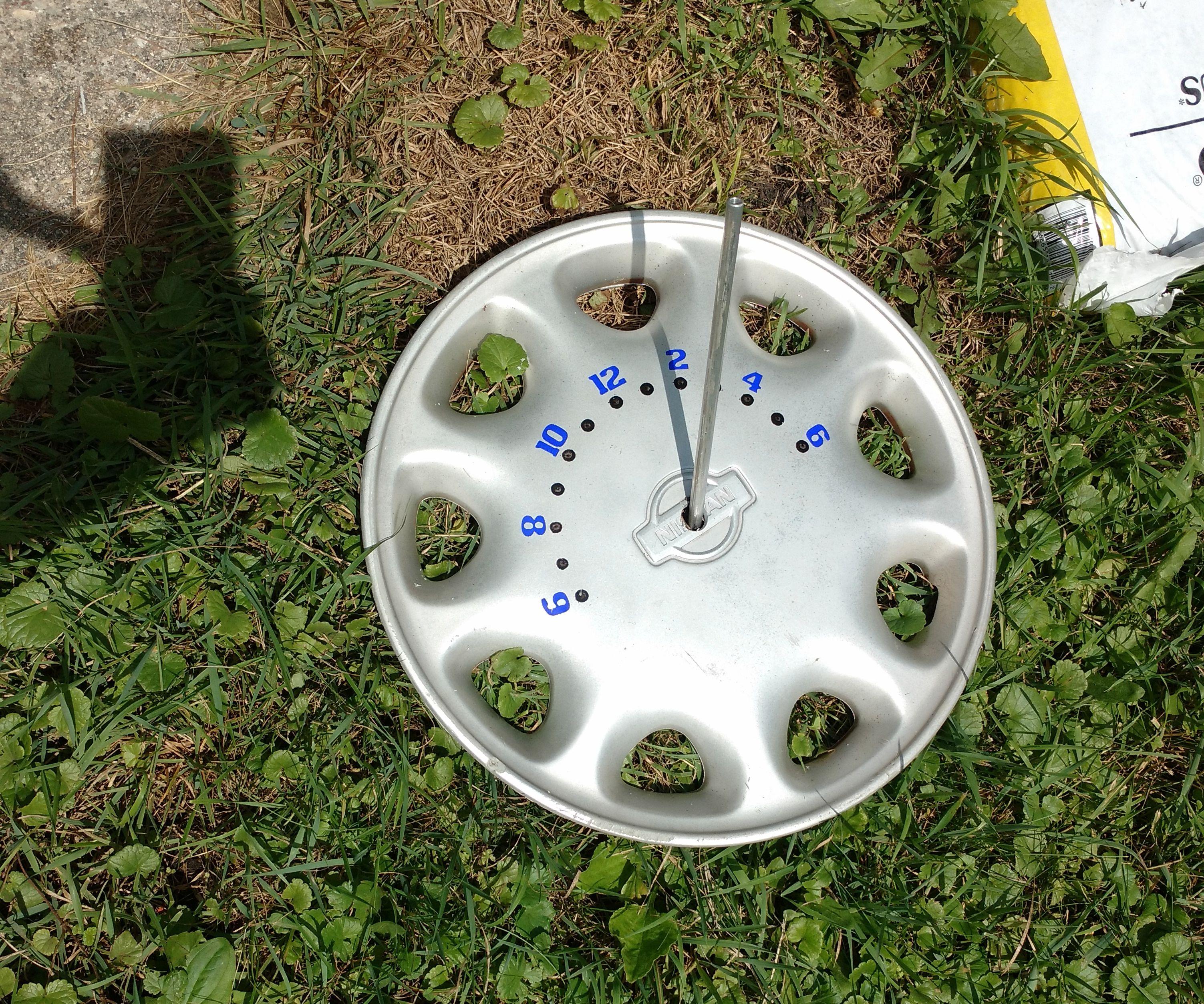 Solar Sundial Clock From Hubcap