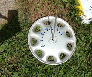 Solar Sundial Clock From Hubcap