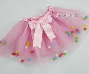 Rainbow Pom Pom Tutu Dress