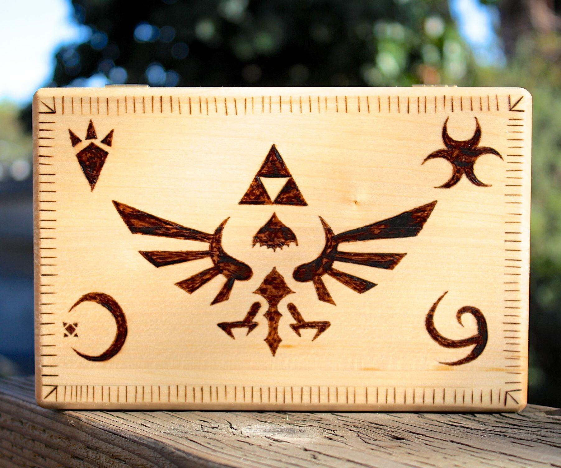 woodburned Legend of Zelda box