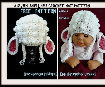 LITTLE LAMB CROCHET HAT, free pattern