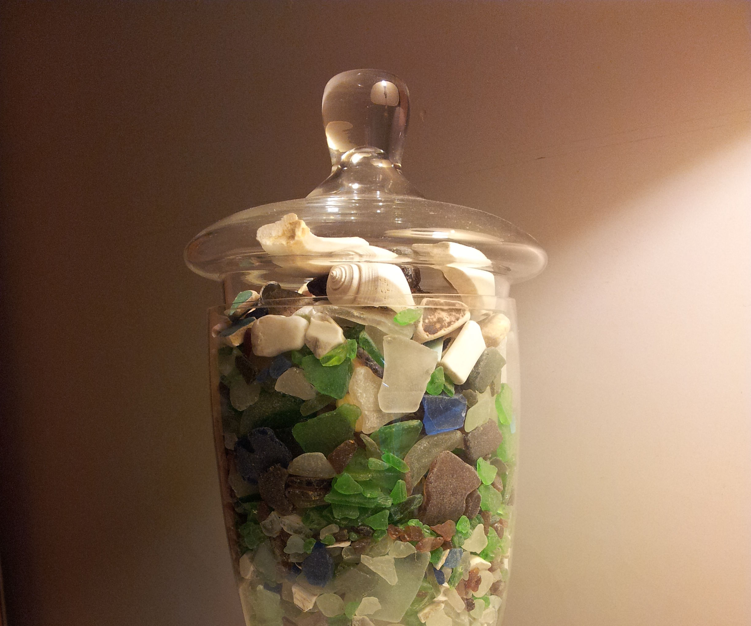Decorative Seaglass Vase and Secret Compartment