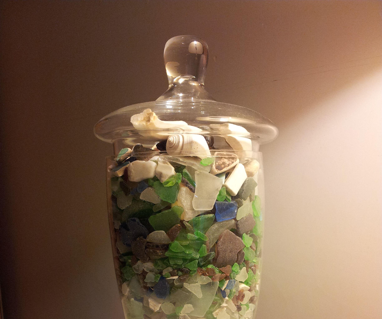 Decorative Seaglass Vase and Secret Compartment