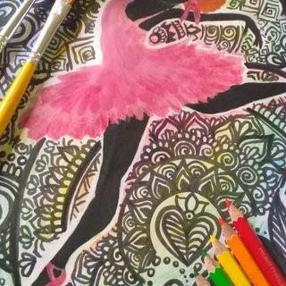 Zentangle Ballerina Art - in Rainbow Shades