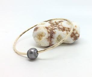 Bangle Bracelet With Tahitian Pearl