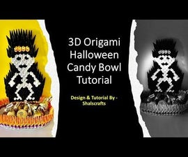 Halloween Candy Bowl - 3D Origami Skeleton Candy Bowl