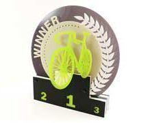 Laser Cut Acrylic Trophy: Cycling