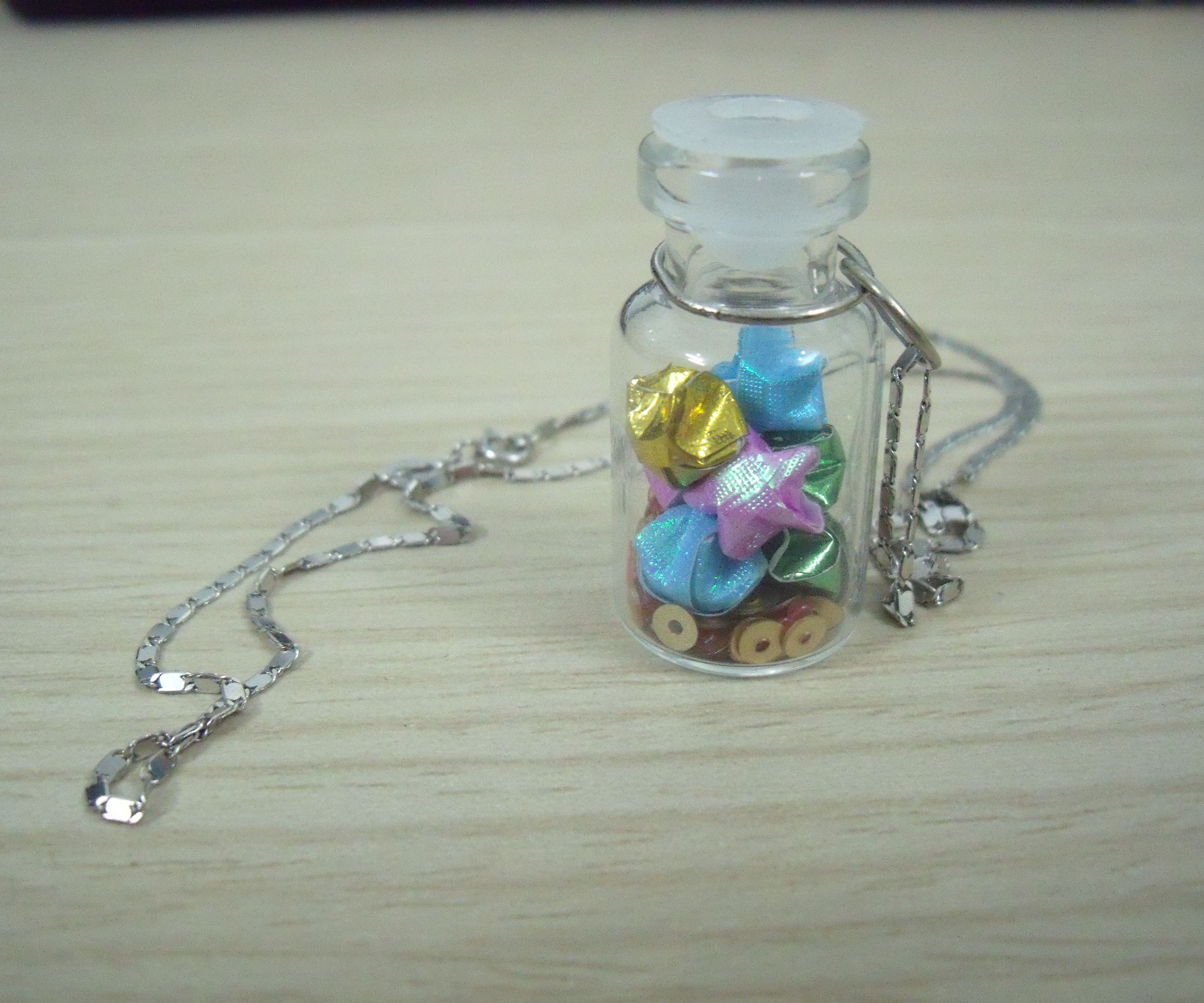 Mini paper wishing star bottle necklace/charm