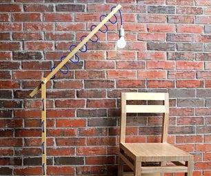 简易DIY落地灯,带花边线绳