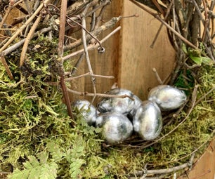 Spring Easter Wreath Nest With Silver Eggs