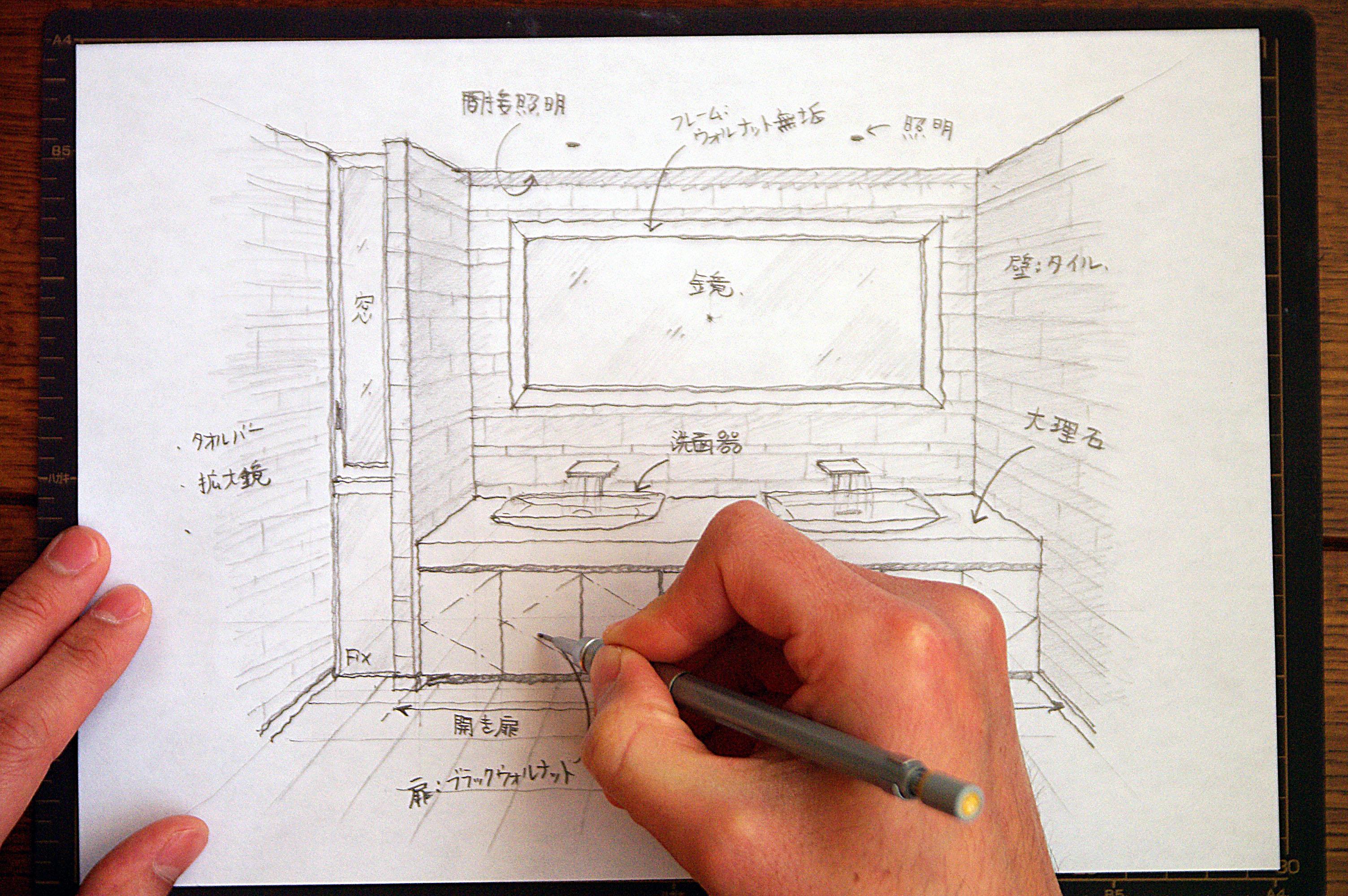Sketch a interior(a washroom)
