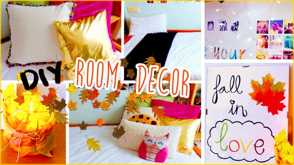 DIY Room Decor for Fall! No Sew Pillows, Tumblr Inspired Decorations & More!