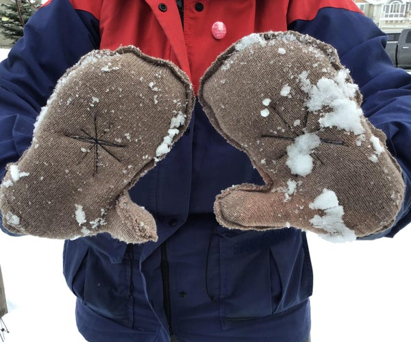 Upcycled Mittens With Poly Filling From an Old Sweater