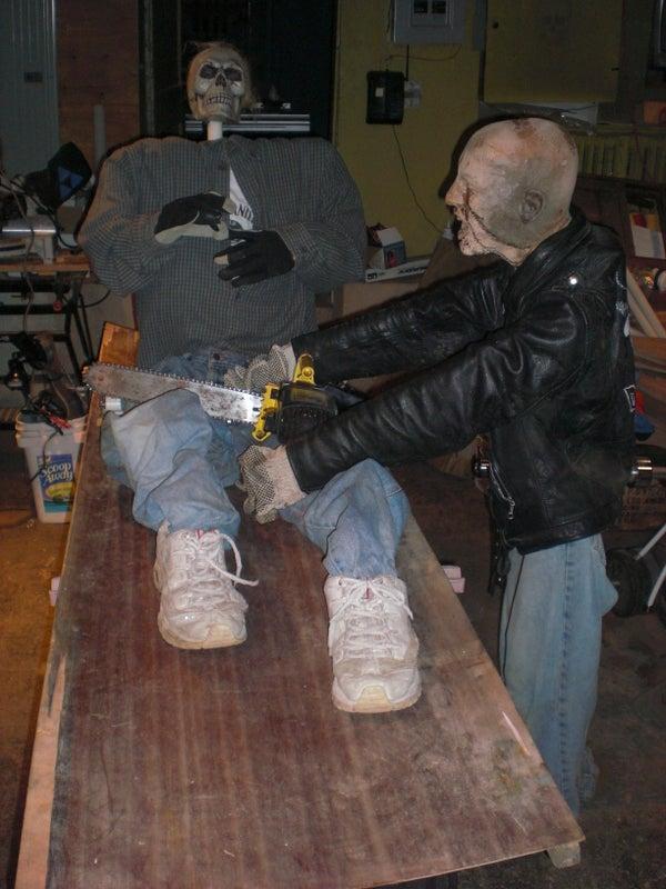 Animated Skeleton Chainsaw Massacre Halloween Prop