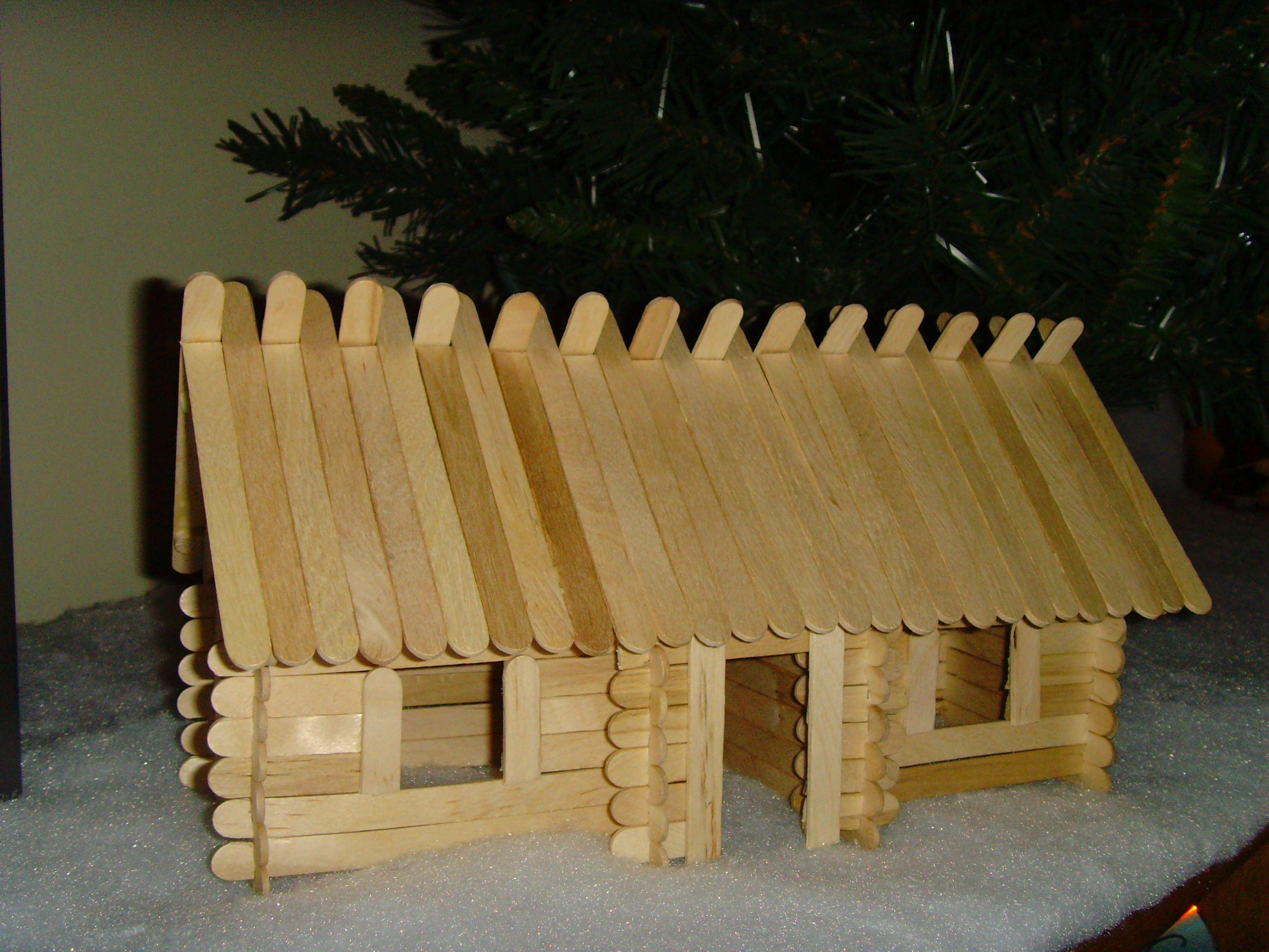 Craft Stick Log Cabin