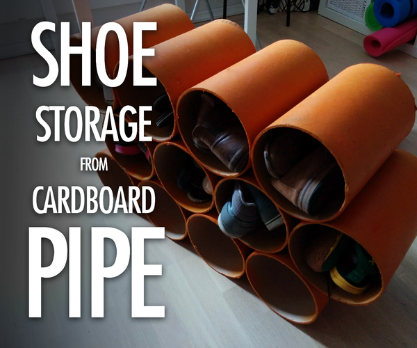 Shoe Storage Made From Cardboard Pipe