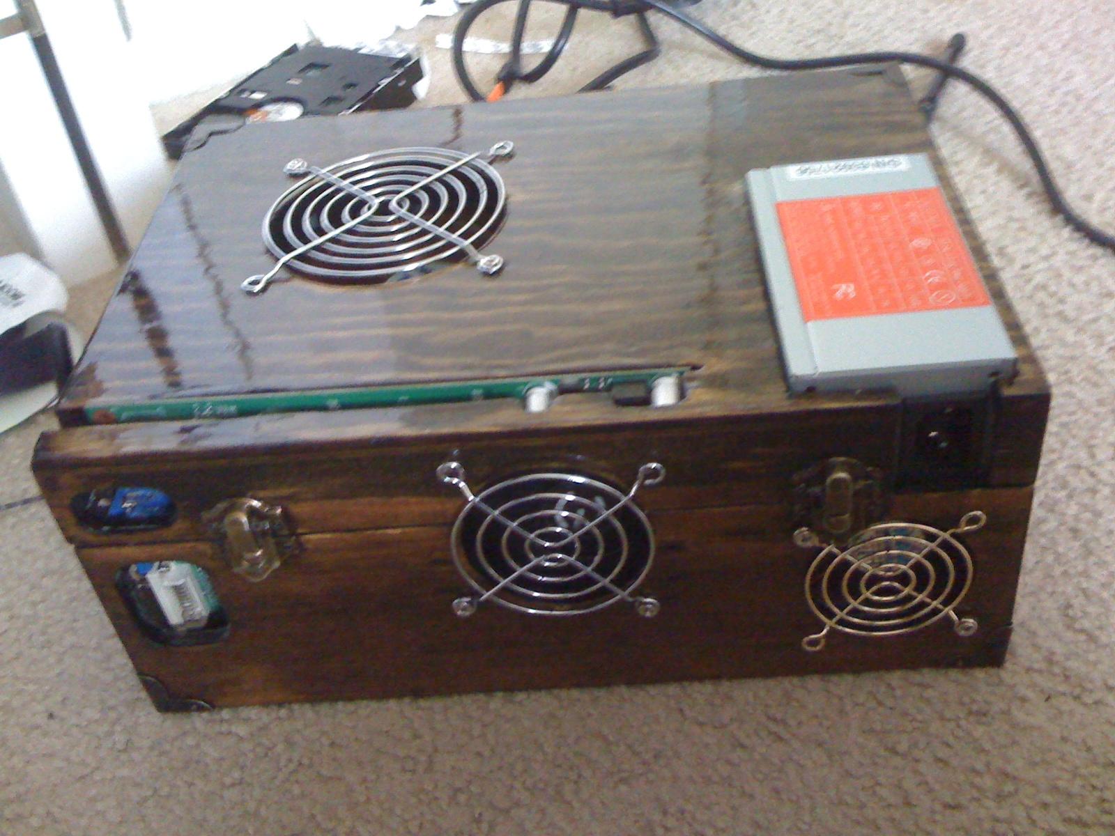 $8 Wooden box computer case mod!!