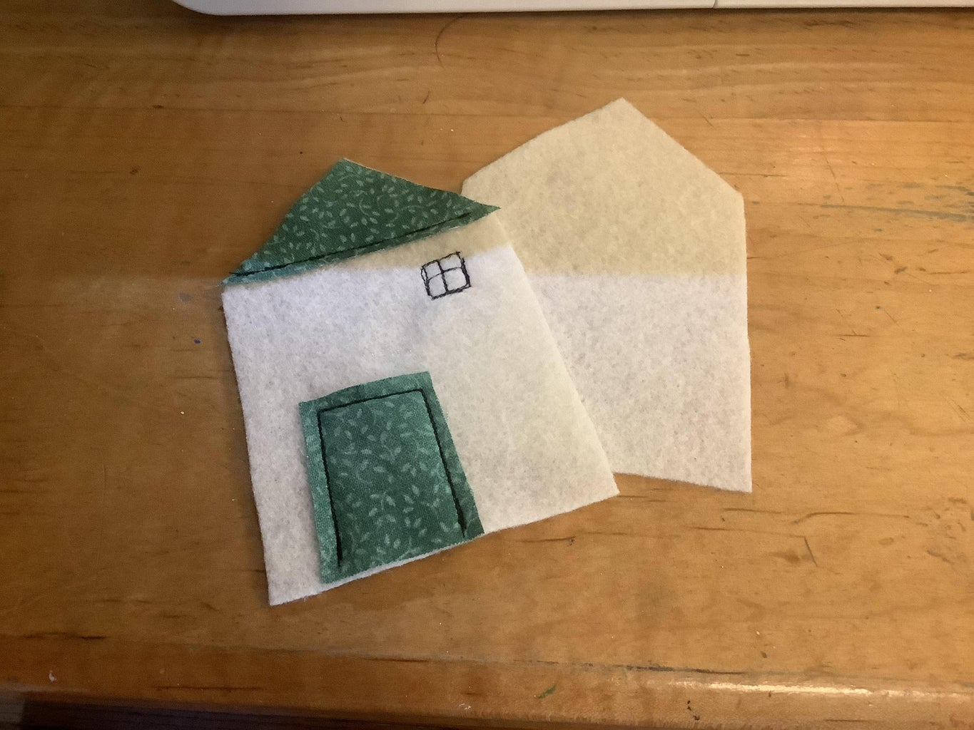Sewing Roof and Door on and Adding a Wee Window