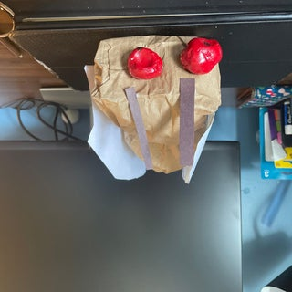 用纸制午餐袋制作的巨型蝉雕