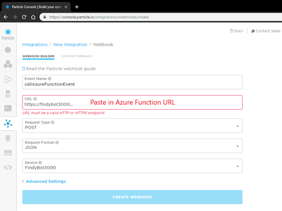 Software - Link Particle Photon to Azure Function