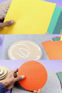 Let's Cover Circular Cardboards With Color Sheets!