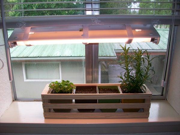 Simple Indoor Herb Garden With Adjustable Grow Light